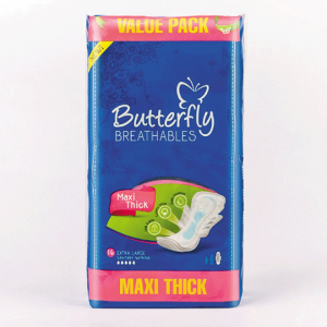 Butterfly Breathables Maxi Thick Sanitary Pads Extra Large Value Pack 16 pcs